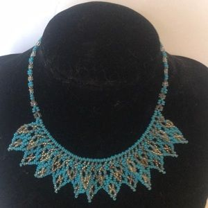"""""""VINTAGE"""" Turquoise and Silver Bead Necklace ."""